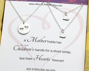 Mother and Daughter Heart SET, Silver Heart Necklace, Family Necklace, Two Heart Cutouts Necklace, Mother's Day Gift, STERLING SILVER.