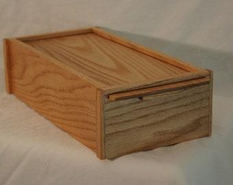 SB01 - Custom-Made Oak Box with slide out lid