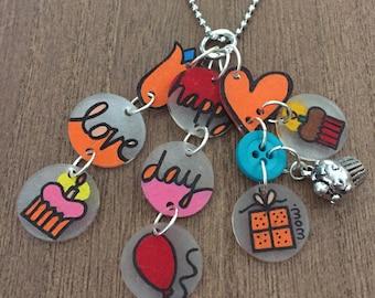 Happy birthday shrink art charm necklace