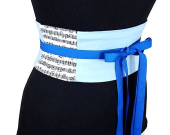 Music Notes Corset Belt / Baby Blue Symphony Waist Cincher / Music Belt / Musical Costume / Obi Belt / Dress Sash / Lace Up Belt / Custom