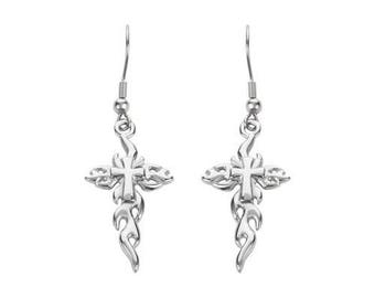 Flaming Cross French Wire Earrings Silver Tone Stainless Steel Motorcycle Biker Jewelry