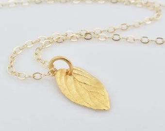 """Gold Leaf Necklace, Mother""""s Day Gift, Small Leaf Charm Necklace, Gold Leaf Jewelry, Small Leaf Charm, Simple Gold Leaf, Gifts For Women"""