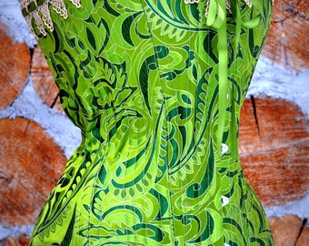 Bright Green Silk Brocade Steel Boned Victorian Overbust Corset with Gold Grape Venise Lace and Double Satin Ribbon Custom Made Just For You