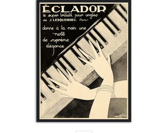 Vintage style piano music poster,P071