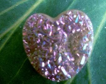 Pink Drusy Heart
