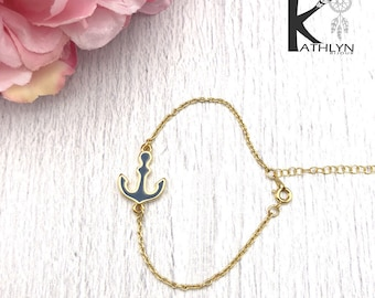 Bracelet anchor Navy and gold chain
