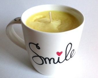 SMILE tropical scented mug candle