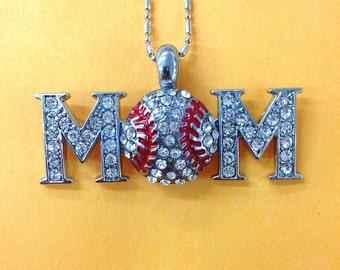 Rhinestone baseball mom necklace finding / bling baseball mom pendant  / gift for her / gift under ten