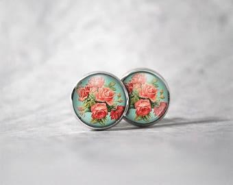 Earrings 12 mm cabochon / flowers