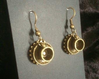 Steampunk style teacup earrings brass tone
