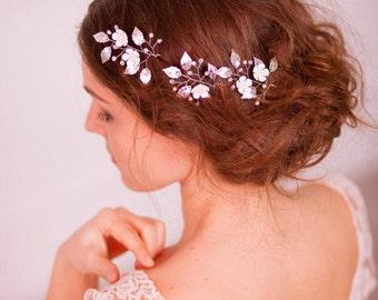 Silver bridal hair pins Silver leaf bridal hair pins Silver wedding hair pins Silver leaf headpiece Silver leaf hair piece Bohemian hair