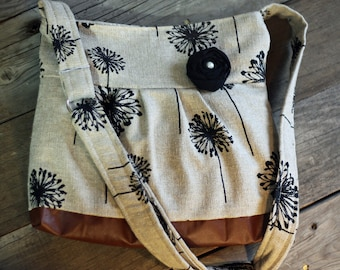 Conceal Carry Purse, Medium Messenger Bag, Black Dandelion, Conceal Carry Handbag, Concealed Carry Purse, Conceal and Carry
