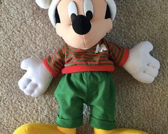 VINTAGE Disney Christmas Stuffed Mickey Mouse 19'