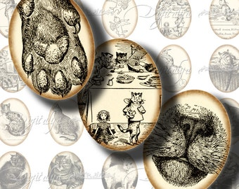 CAT FROM the PAST (1) Digital Collage Sheet - Your Kitty's Ancestors - Ovals 30x40mm or 18x25mm or other sizes - Buy 3 Get 1 Extra Free