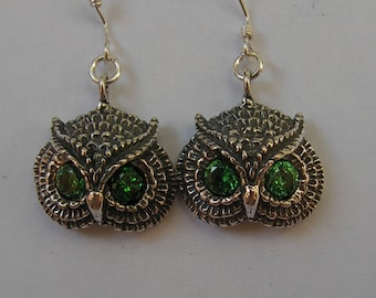 Sterling Silver Owl Earrings With Emerald Eyes
