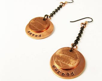 Penny Earrings - Accounting Gift - Copper Coin Jewelry with Wise Words for Tax Accountant, Banker, Thrifty Friend for Tax Season