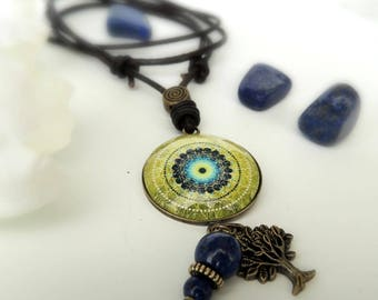 Healing Necklace EARTH MANDALA Necklace Green Mandala Jewelry Crystal Necklace Healing Jewelry Faux Leather Jewelry Handmade Earth Necklace