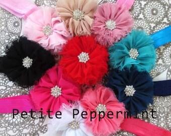 Baby headband, baby girl headband, newborn headband, toddler headband - Baby Flower Headband SET OF TWO
