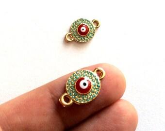 1pc- Matte Gold Plated Matte bead  Evil Eye Connector-18x12mm-(017-057GP)