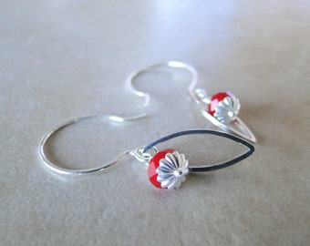 Red Chinese Crystal, Dainty Earrings