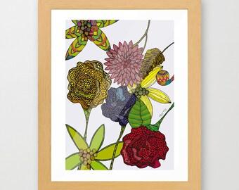 FLOWERS Gicleé print illustration flowers wall art wall hangings girls decor