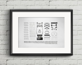 Typewriter digital download print, typewriter pieces art print, black and white printable art, digital download, old vintage typewriter art