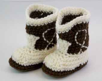 Baby  Booties Dark Brown and Natural Cowboy Boots Baby Shoes Slippers