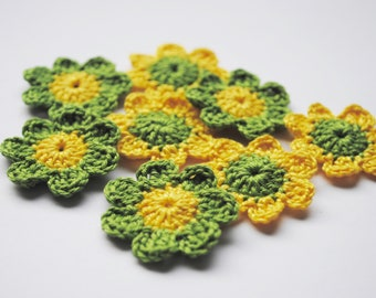 Crochet flower appliques. Crochet supplies for your scrapbooking, cards and other crafts. 8pcs of handmade flower embellishments.