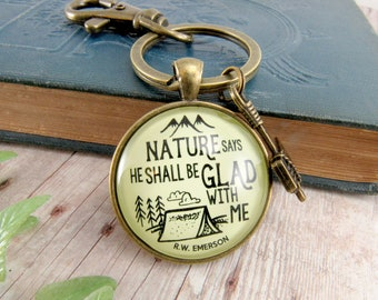 Outdoorsman Dad Keychain Mens Tent Camping Key Fob Fathers Day Key Holder Nature Outdoor Gift From Daughter Wife Axe Hatchet Charm Emerson