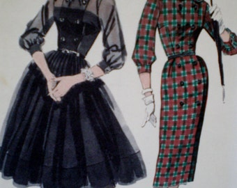 Vintage Butterick Misses and Jr  Misses Two Skirted Dress Sewing Pattern  #8312  Size 12 Bust Size 32** Epsteam