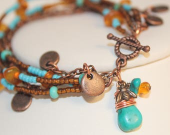 Turquoise Bracelet Amber Copper Five Strands Bee Charm Genuine Gemstones Chain Seed Beads Wire Wrap Arizona Handmade Shimmer Shimmer