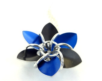 Blue And Black Dragon Scale Flower Necklace