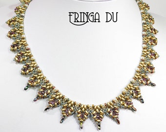 FRINGA DU SuperDuo and O Beads Beadwork Necklace Pdf tutorial instructions for personal use only