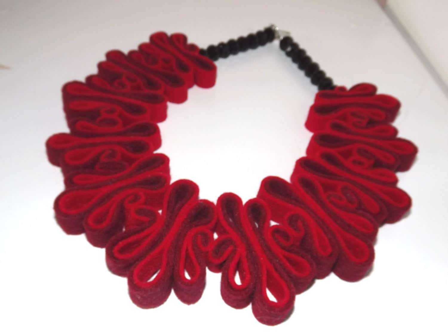 Red Necklace Red Statement Necklace Felt Jewelry Ecofriendly