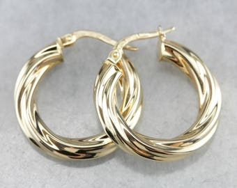 Twisted Fine Gold Hoop Earrings, Bridal Jewelry KQC3Y89L-R