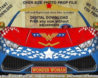 Wonder Woman Car,Lambo Aventador Lp700 Style, Lamborghini, Instant Download, Digital, Photo Booth, DC Comic, Movies, Justice League, JLA