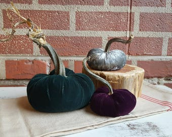 Set of 3 Extra Plush Super Soft Silk Velvet Pumpkins -- Farmhouse Decor -- Fall/Autumn Decorations, Chic Decor,  Farmhouse Decor