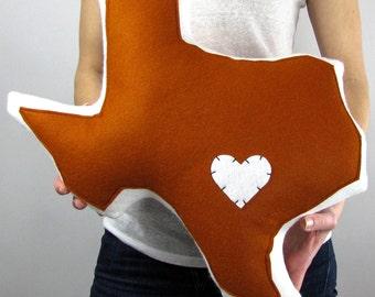 Handmade Customizable Texas State Throw Pillow with Heart