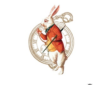I'm late, Alice In Wonderland, White Rabbit and Pocket watch Wickedly Lovely Skin ArtTemporary Tattoo