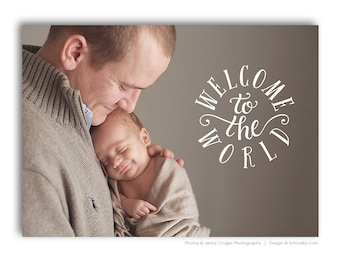 Birth Announcement Photoshop Template - 7x5 Card - BABY LUCAS - 1465
