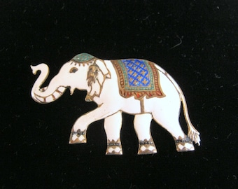 Vintage SIAM Sterling Silver Cloisonne ELEPHANT Pin BROOCH