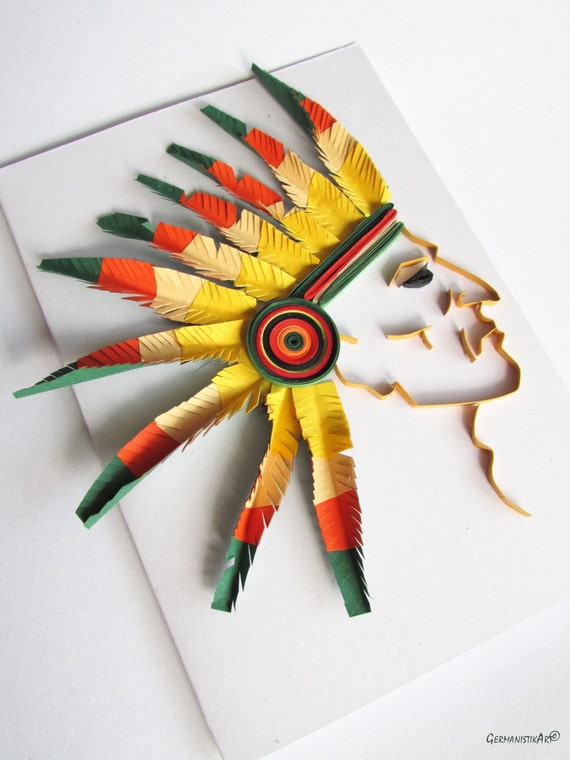 Quilling indianer card native american card funny birthday like this item bookmarktalkfo Choice Image