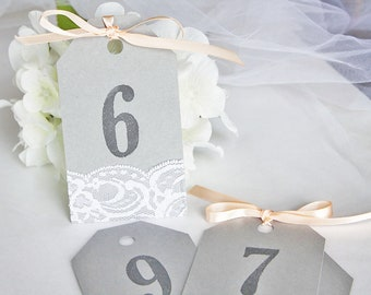 Grey & Peach Wedding Table Number Tags, Grey Wedding Table Numbers, Grey Peach Wedding, Grey Peach Invitations, Lace Wedding Invitations