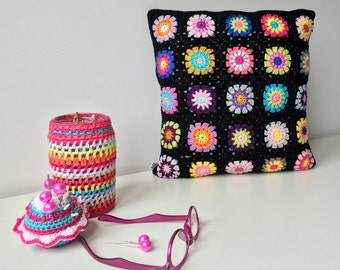 handmade crocheted cushion/pillow cover