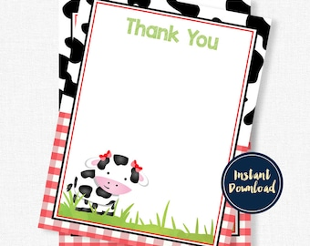 Cow Thank You Cards, Cow Birthday Thank You, Cow Print Thank You, Red Cow Printable INSTANT DOWNLOAD