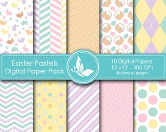 Easter Pastels Paper Pack - 10 printable Digital Scrapbooking papers - 12 x12 - 300 DPI