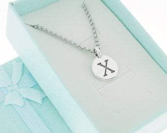 Antique Silver Plated Pewter Initial Charm Necklace.  Initial Necklace. Initial Charm. Initial Jewelry. Letter X necklace.