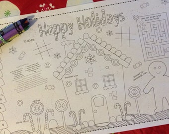 GINGERBREAD- Kids activity placemat- Digital file only