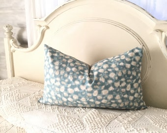 One Blue/ grey 16/26inch lumbar pillow slip cover. Grey linen backing with invisible zipper .