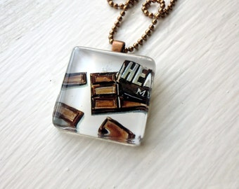 Chocolate Necklace, Glass Tile Pendant Necklace, Wearable Watercolor Art